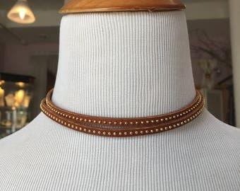 Choker Genuine Leather or Wrap Bracelet, Adjustable, Wrap Handmade Boho Rustic Jewelry, One Size Fits Most