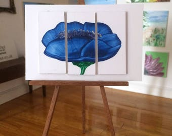 Miniature Dolls House Painting Blue Poppy Triptych Modern 3 piece Original Art Dollhouse Picture