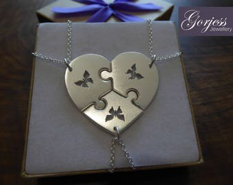 Three Silver Puzzle Pendants - Silver Puzzle Pieces - Three Piece Heart - Butterfly Necklaces, Satin