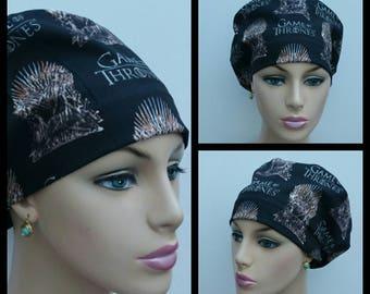 Mini - Chemo Cap - Nurses Hat - European Style - Game Of Thrones - Black - 100% cotton