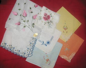 7 Vintage Unused Hankies Handkerchiefs Colors and Embroidery Flowers