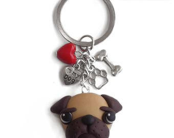 Keychains pug dog handmade polymer clay
