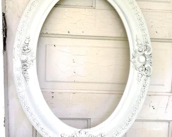 Vintage Frame White Ornate Wood Shabby Chic Cottage