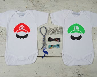 Super Mario Bros Twin Set, Mario and Luigi Twins Onesies,Twin Bodysuits Set,Gifts for Twins,Twins Gifts,Twin Baby Shower,Super Mario Costume