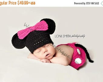 SUMMER SALE Baby Minnie Mouse Inspired Costume Set Hat Skirt Diaper Cover in Pink White Black - Winter Outfit Newborn Boy Girl  Photo Prop