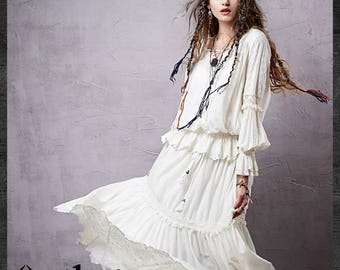 Women's 2015 Spring New Casual Lace Patchwork Embroidery Blouse V-Neck Lantern Sleeve Cotton Shirt
