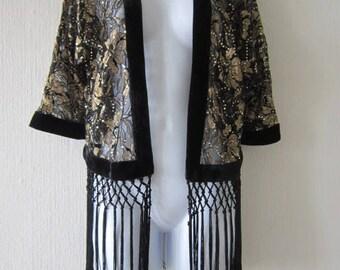 Vintage Gold and Black with Sequin Fringe Open Jacket