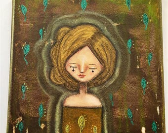 Earth Elemental Girl Art Work. Mixed media artwork. Original Art for Sale, Original Art Work, Fine Art, Original Painting, Gift Women