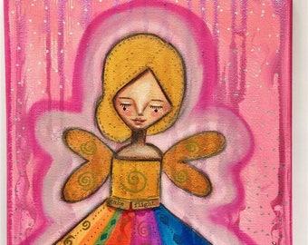 Rainbow Aura Angel Art Work. Mixed media artwork. Original Art for Sale, Original Art Work, Fine Art, Original Painting, Gift Women