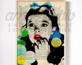 Wizard of Oz Inspired, Dorothy Gale, Judy Garland, Rainbow Bubble, Original Collage Print on an Antique Up-Cycled Book Page Unframed