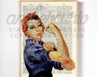 Rosie the Riveter Cultural American Icon 1942 World War II Poster Print on an Unframed Upcycled Bookpage