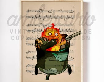Calcifer's Curse Howls Moving Castle Studio Ghibli Inspired Anime Print on an Unframed Upcycled Bookpage