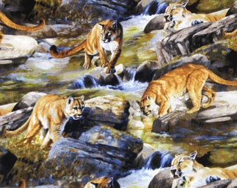 Cougar mountain lion wildlife wilderness fabric, cougar cat at river, by the yard