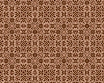 brown quilt fabric, fabric by the yard, beige fabric, flowers and star design