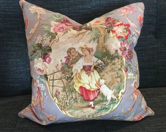 IN STOCK / Lavender, Pink and Green Toile Pillow Cover / 18 X 18 / Designer Fabric front and back.