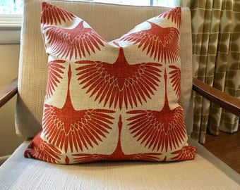 Modern Red/Orange and Oatmeal Pillow Covers / Designer Flock Linen Circa Tigerlily / Custom Handmade Home decor Accent Pillows
