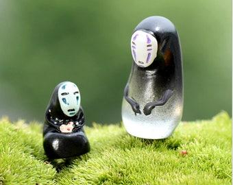Set of 2 PCs studio Ghibli no face spirited away Terrarium Garden Miniature doll house miniature cake topper