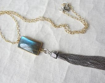 Labradorite Rectangle Pendant in Gold with Sterling Silver Tassel 14k Gold Filled Necklace