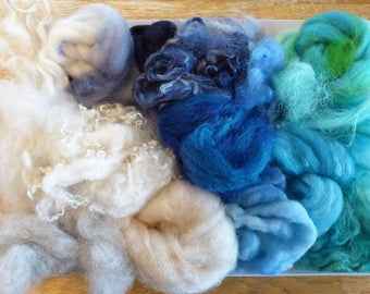 Hope Jacare - Mixed wool pack- custom blended top -  140g hand dyed top and fleece  - MWP05