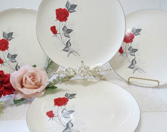 4 Mid Century Dinner Plates, Taylor Smith & Taylor, 1950s Vintage China, Moulin Rouge Pattern, Versatile Shape, Red Roses Gray Leaves
