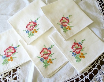Embroidered Vintage Napkins, Set of 5 Luncheon or Tea Napkins with Red Roses, White Cotton, Vintage Linens by TheSweetBasilShoppe