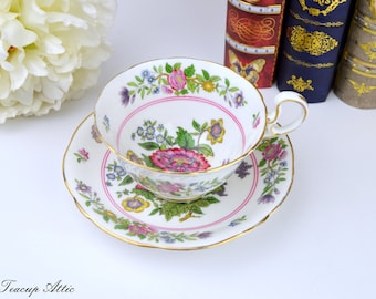 Aynsley Floral Teacup and Saucer Set, English Bone China Tea Cup, Replacement China,  ca. 1934-1939