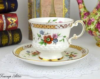 Elizabethan Ribbed Vintage Floral Teacup And Saucer, English Bone China Tea Cup Set, Tea Party Set, ca. 1970