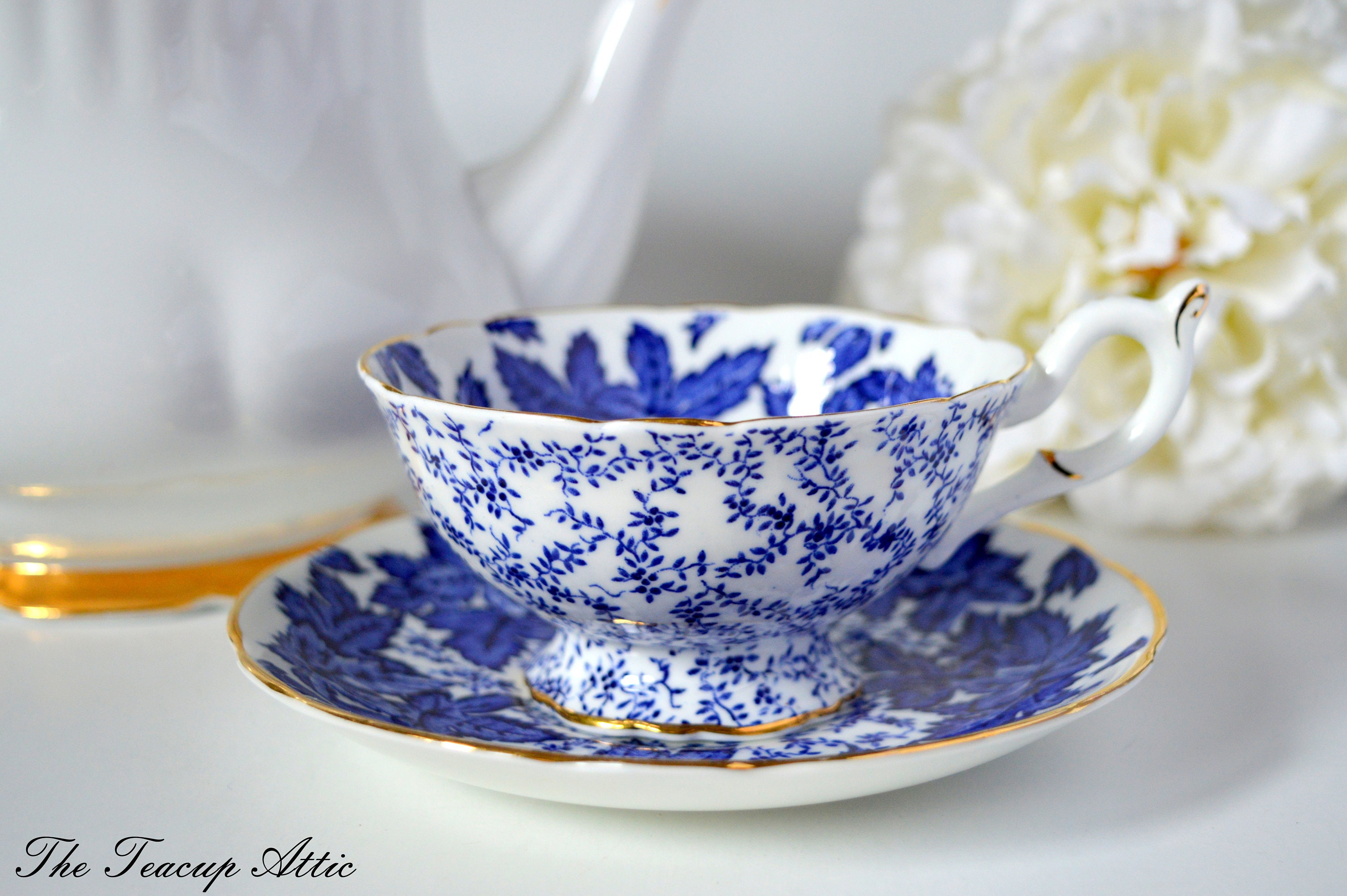 Coalport Footed Teacup and Saucer Set With Blue Leaves, English Bone China Tea Cup Set, Wedding Gift, c. 1940-