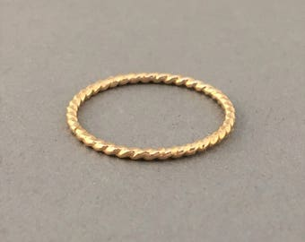 THICK TWISTED Stackable Ring also in Rose Gold and Sterling Silver
