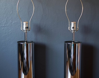Vintage Pair of Tall Chrome Cylinder Lamps by George Kovacs