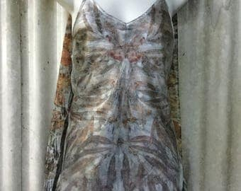 Natural Plant Dyed Pure Silk Long length Camisole Top Size XL