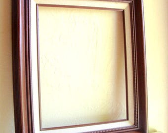 Vintage Wood Picture Frame with Ivory Canvas Accent Large 11x14