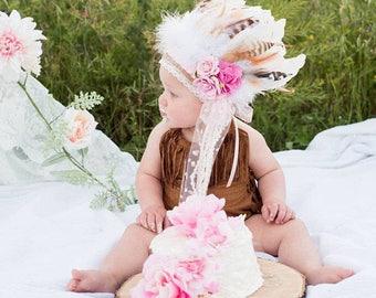 Girls Indian Headdress, Baby Headdress, Baby Girl Headdress, Toddler Headdress, Feather Headdress, Wild One, Girls Feather Headdress.