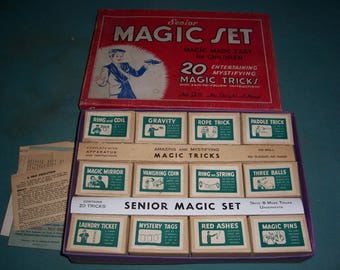Mid Century Senior Magic Set..Magic made easy for Children..Very Good Condition...1960's Magic Set..