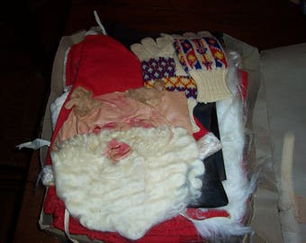 Vintage Mid Century Santa Claus Costume by Bayshore...In Original Box..Very Old..Plastic Face Santa Costume..