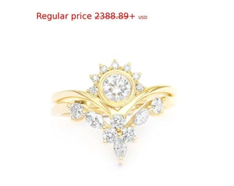 Summer Sale! Diamond Crown Rings Bridal Set, Art-Deco Engagement Ring + Matching Side Band - Marquise Diamond Wedding Ring - Chevron V-Ring
