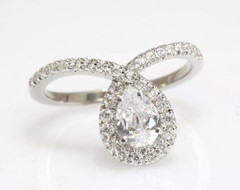 Pear Engagement Ring, Halo Ring, 14K White Gold Ring, 0.94 CT Pear Cut Moissonite Ring, Art Deco Ring, Unique Engagement Ring