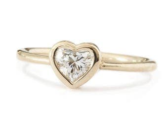 10% OFF Delicate Heart Ring, Bezel Engagement Ring, 18K Rose Gold Ring, 0.50 CT Diamond Ring, Solitaire Ring, Unique Engagement Ring