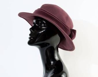 "Vintage Women's Mauve Felted Wool Wide Brim Hat Landgirl Small 54cm 21"""