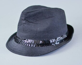Vintage Women's Black Sequin Fedora Trilby Hat 70's Detective Medium 57cm 23""
