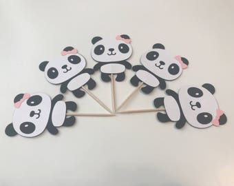 Panda Cupcake Toppers with Bow