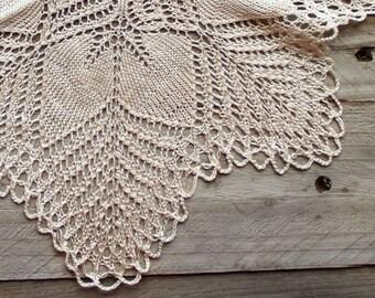 Cream ecru knitted Vintage Doily