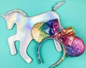 Bright Unicorn Rainbow Sequin Minnie ears
