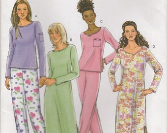 Easy Pajama and Nightgown Pattern Butterick 4359 Sizes L & XL Uncut