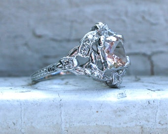 Vintage Platinum Diamond and Morganite Ring Engagement Ring - 0.61ct.