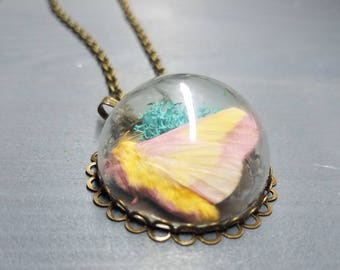 Cotton Candy Moth Terrarium Necklace | Gothic Jewelry | Handmade Necklace | Bug Jewelry