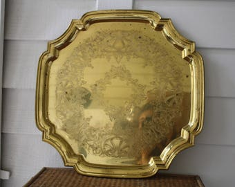 large brass tray, Towle brass tray, square brass tray, Hollywood Regency, brass cocktail tray