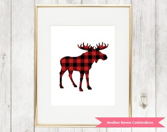 Moose Woodland Nursery Print | Printable Lumberjack Wall Art | Red Plaid Print Instant Download