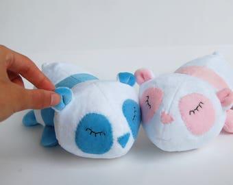 Twin baby gift, baby shower gift, newborn panda, stuffed animal, plush toy, plush panda bear, cuddle toy boy and girl