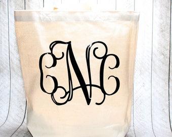 Monogram Tote Bag, Three Letter Monogram Tote